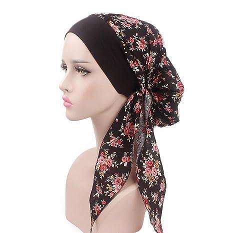 Cathy02Marshall Sombrero de Turbante elástico de Mujer, diseñado para Mujeres con pérdida de Cabello,