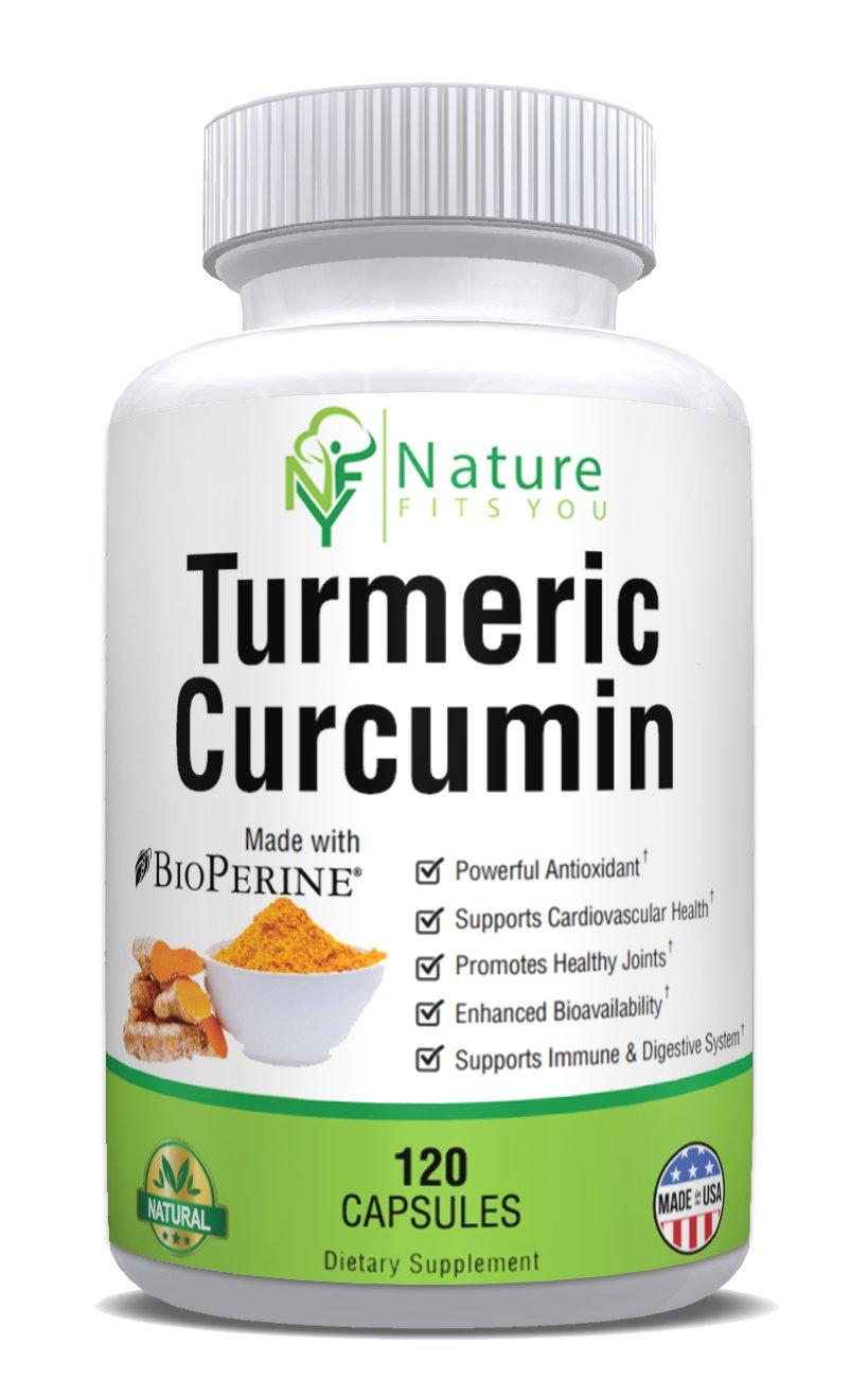 Turmeric Curcumin with BioPerine, Black Pepper, Joint Pain Relief & Anti-Inflammatory 95% Curcuminoids for Optimal Absorption, 2 Month Supply 120 Veggie Capsules