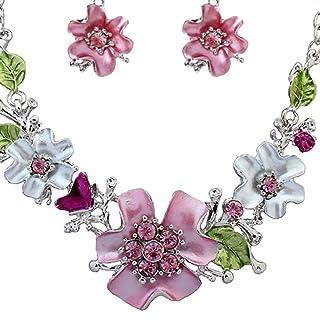 caolator 2pcs TreasureBay Collana Orecchini Braccialetto Costumbre della moda vetro orecchini per donna accessori di gioielli collana + pendientes-multicolor