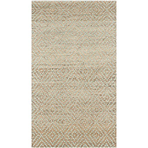 Safavieh Natural Fiber Collection NF453A Hand Woven Natural and Green Jute Area Rug (2'6