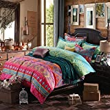 YOUSA 3Pcs Colorful Boho Bedding Set Bohemian Duvet Covers (Twin,01)