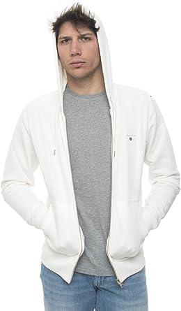 Gant Sweat zippé à Capuche Blanc Coton Homme Blanc Small