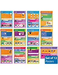 """Components of Physical Fitness - Set of 12 PE Posters 