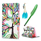 Sony Xperia L1 Case MAXFE.CO Xperia L1 PU Leather Case Shockproof Folio Flip Wallet Magnetic Stand Cover with Card Slots for Sony L1 & One Touch Pen & One Dust Plug, Tall T