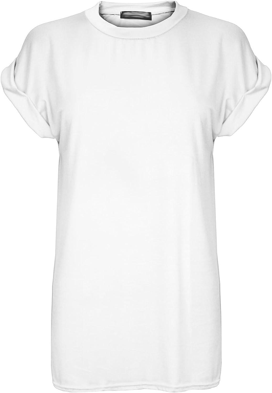 Camiseta Larga y Ancha para Mujer - Cuello Redondo y Manga murciélago con Vuelta - Tallas Grandes: Amazon.es: Ropa y accesorios