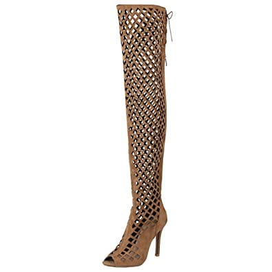 Atyche Damen Peeptoes Cut Out Sommer Overknee Stiefel mit Reißverschluss und Schnürung Stiletto High Heels Sandalen Mode Schuhe TRScIRTPr