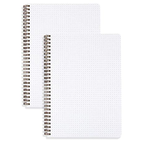 (2-Pack) Dotted Bullet Journal B5 Size 100gsm Wirebound/Spiral Notebook 7.1 x 10 inches - 80 Sheets Per Book, Dot Grid Paper, Hardcover