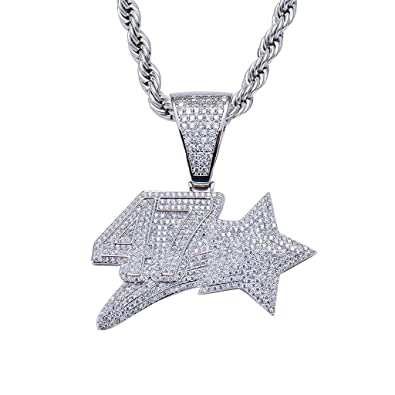 LC8 Jewelry Men Hip Hop 69 Letter CZ Pendant Iced Out Diamond Bling 69 Dog Tag Necklace with 24 Rope Chain