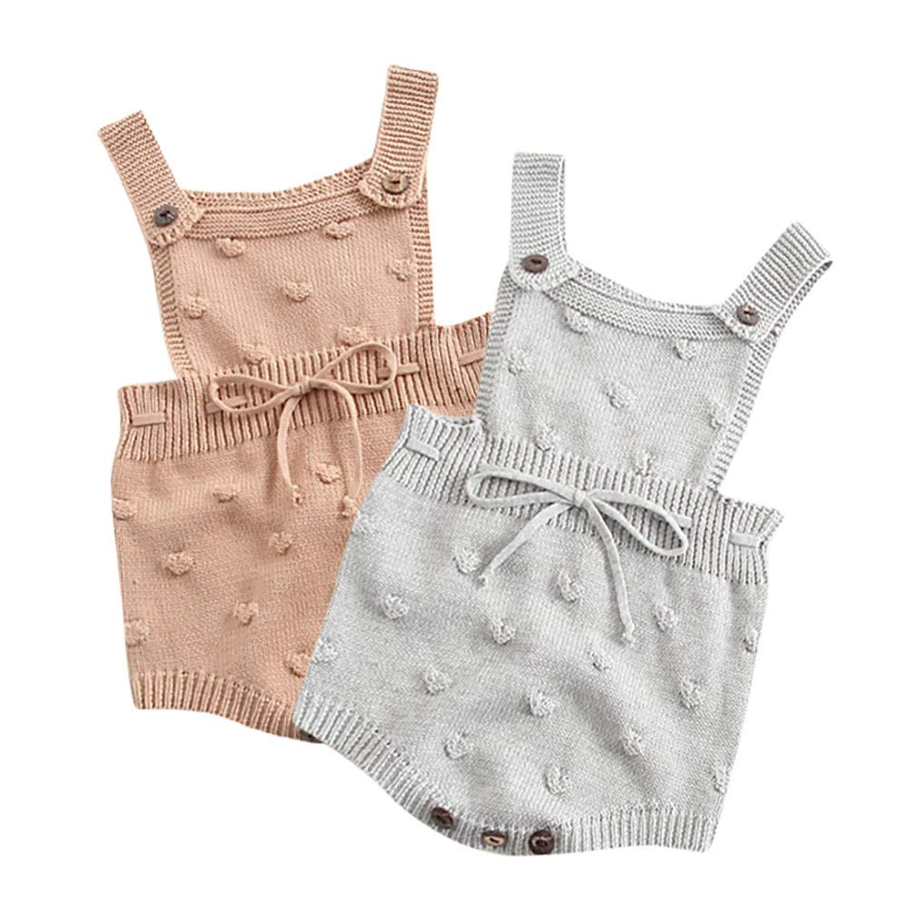 200c6e29b05a Amazon.com: LNGRY Baby Romper, Toddler Newborn Kids Girls Boys Strap Knit  Ball Lace Up Romper Climbing Clothes Overalls: Clothing