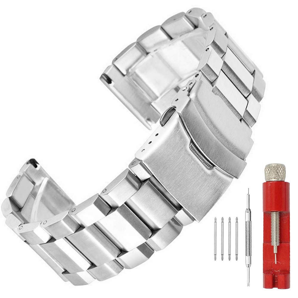 22mm Silver Brushed Wrist Band Stainless Steel Replacement Watch Band with Push Button Safety Buckle by SINAIKE