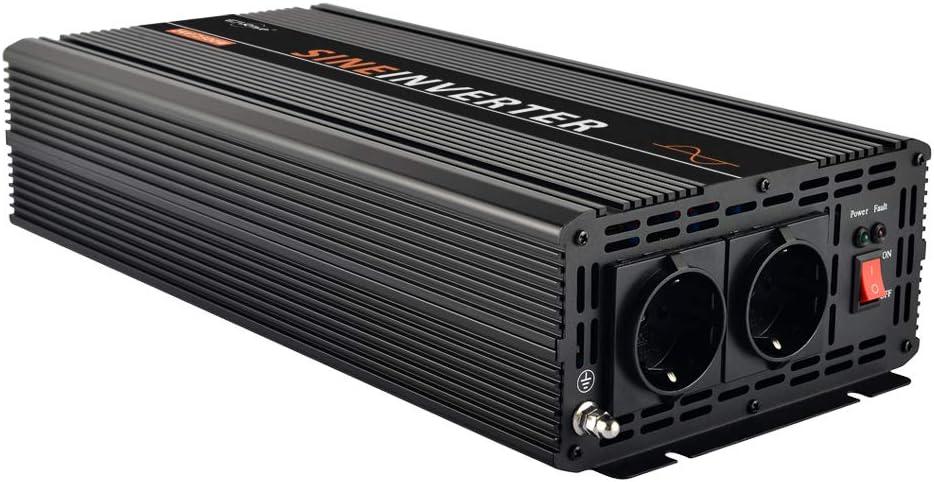 EnRise Inversor de Corriente 2500W Pico 5000W Convertidor de Voltaje de 24V a 220V 230V Onda Sinusoidal Pura