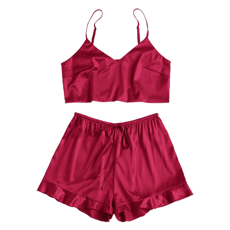 f63ad68025a Sexy Pajamas Women Satin Silk Strapless Lingerie Sets Sleepwear ...