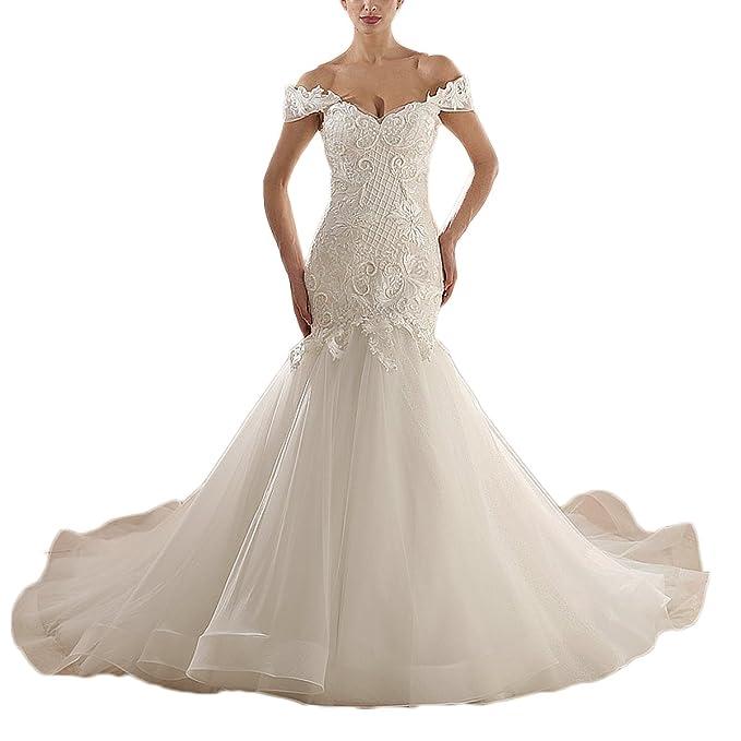 Amazon.com: thrsaeyi Off hombro vestido de novia de sirena ...