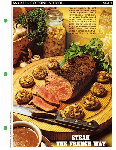 McCall's Cooking School Recipe Card: Meat 13 - Steak With Marrow Sauce And...