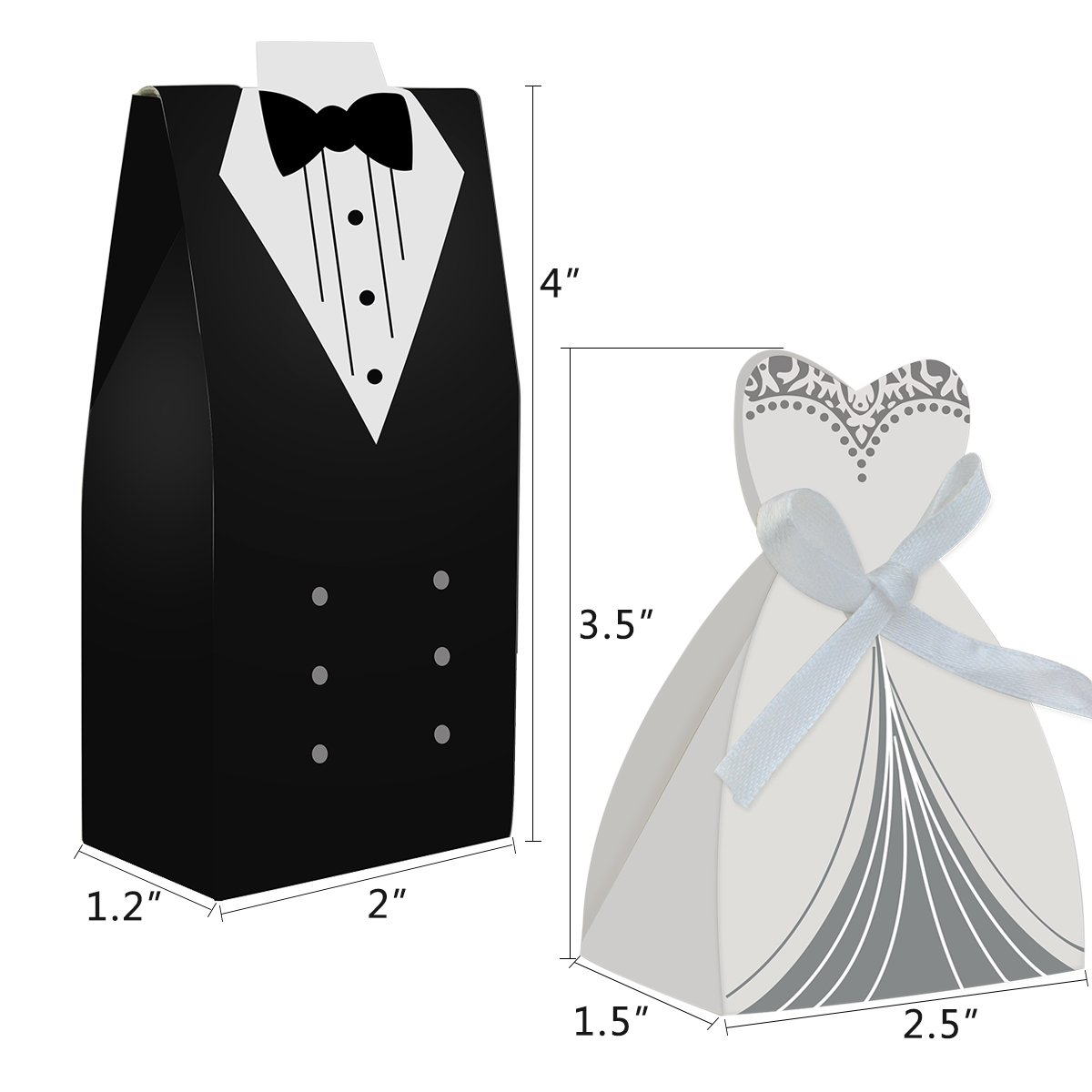 Amazon.com: cnomg 100pcs Party Wedding Favor Dress & Tuxedo Bride ...