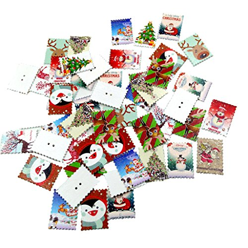MonkeyJack 50 Pieces Colorful Christmas Stamps Wooden Buttons Scrapbooking Embellishment for Kids Craft Xmas Decoration
