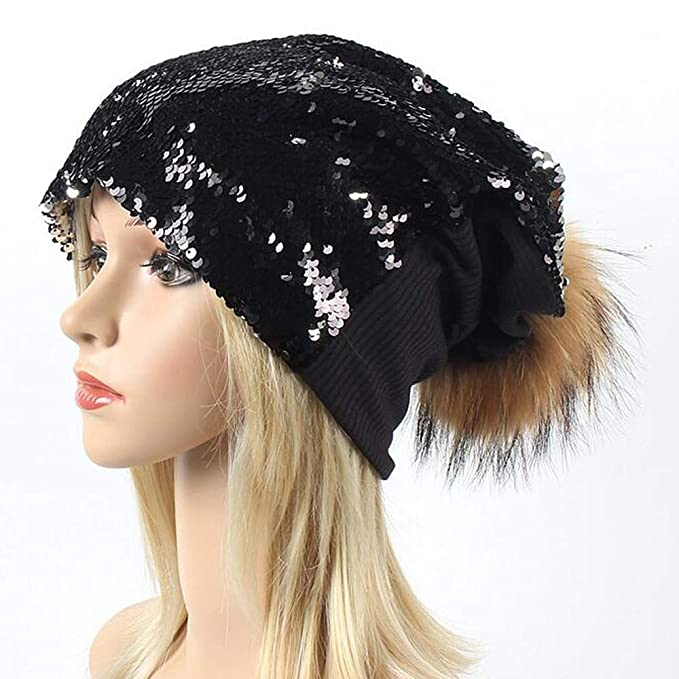 1c1869bc0b2 BLUBOON Sequin Pom Beanie Hats Women Girls Ugly Christmas Sweater Holiday  Caps for Concert Parties (