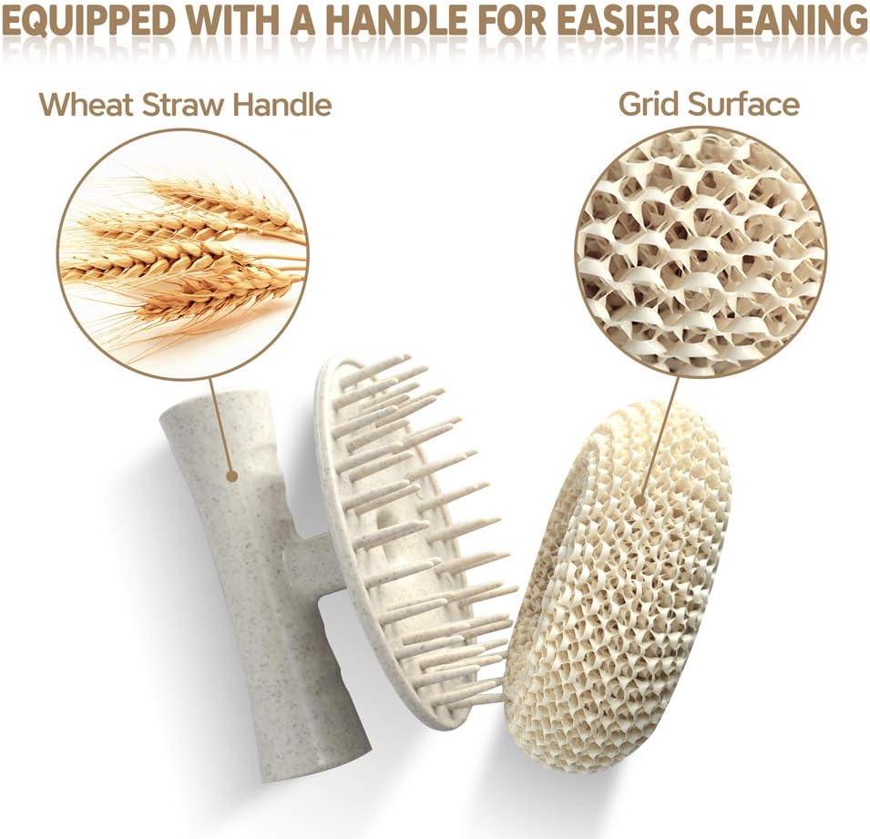 3 Brush Heads Skin-Friendly Nano Dish Scouring Pads Non-Scratch Non Stick Oil 3.4 Inch BXIO Nano Bamboo Wood Fiber Dish Scrubber Pot Brush Set with Detachable Long//Short Handle