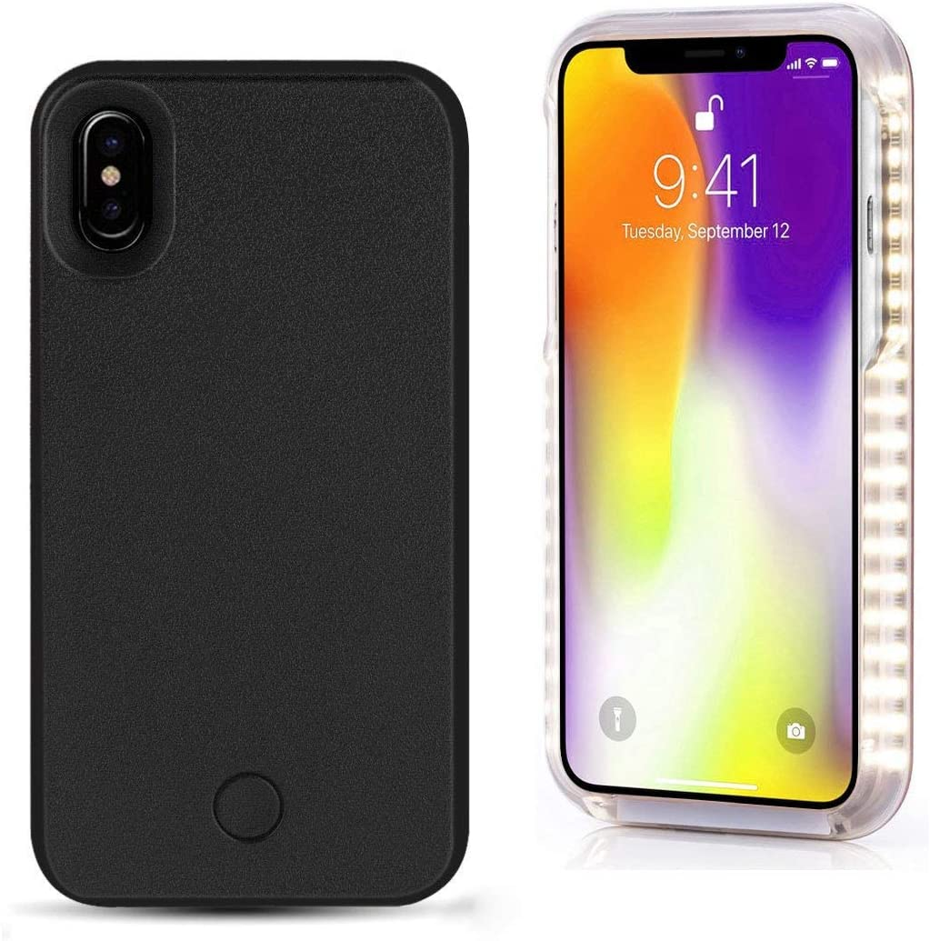 Spruce Selfie LED Light Case for iPhone 6/6s/6p/7 Cover with Rechargeable Backup (Black, X)