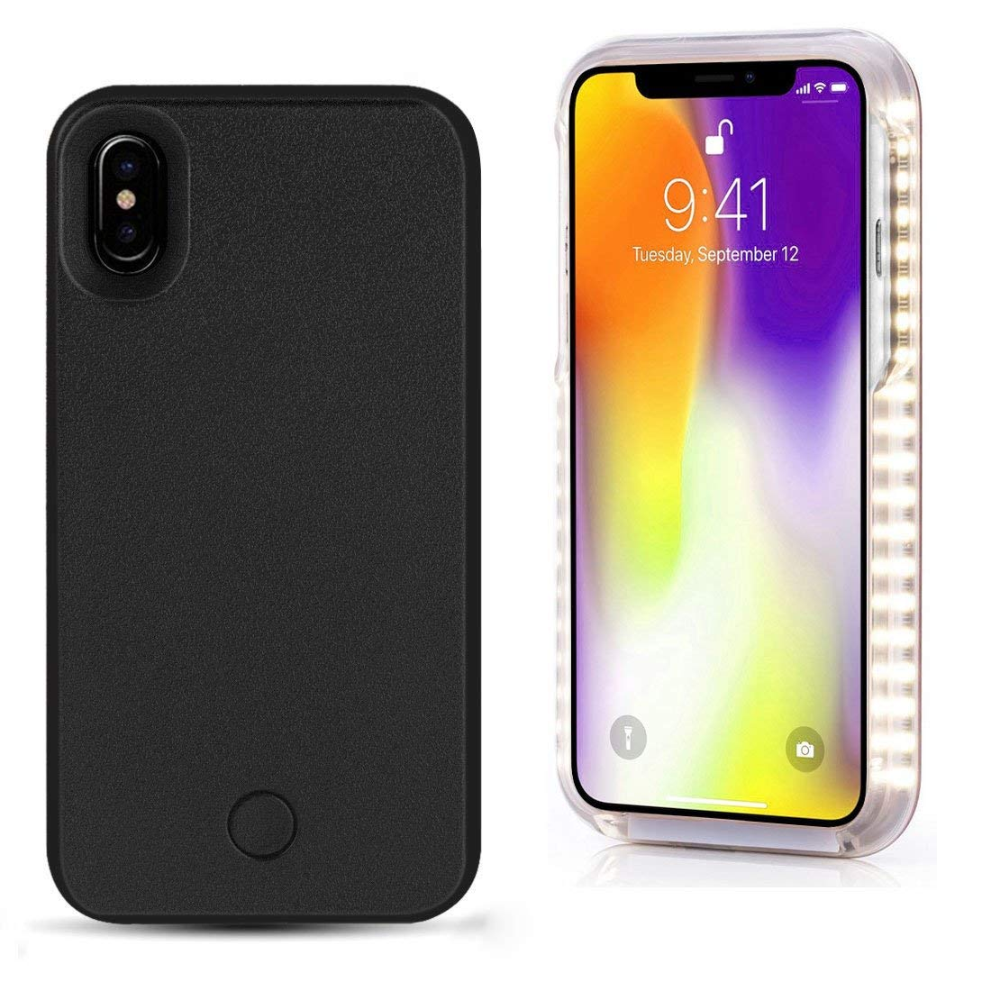 new style bc673 f858a Amazon.com: Spruce Selfie LED Light Case iPhone X Cover Rechargeable ...