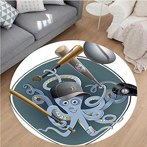 Nalahome Modern Flannel Microfiber Non-Slip Machine Washable Round Area Rug-s Playing Baseball with Cap Glove Ball and Bat Cartoon Image Retro Style Decor Teal White area rugs Home Decor-Round 24