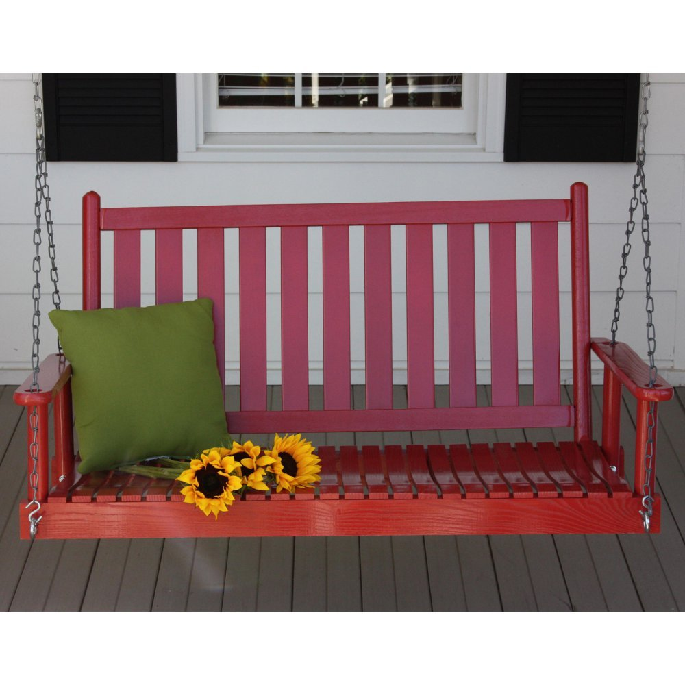 Dixie Seating 4 ft. Slat Back Wood Porch Swing