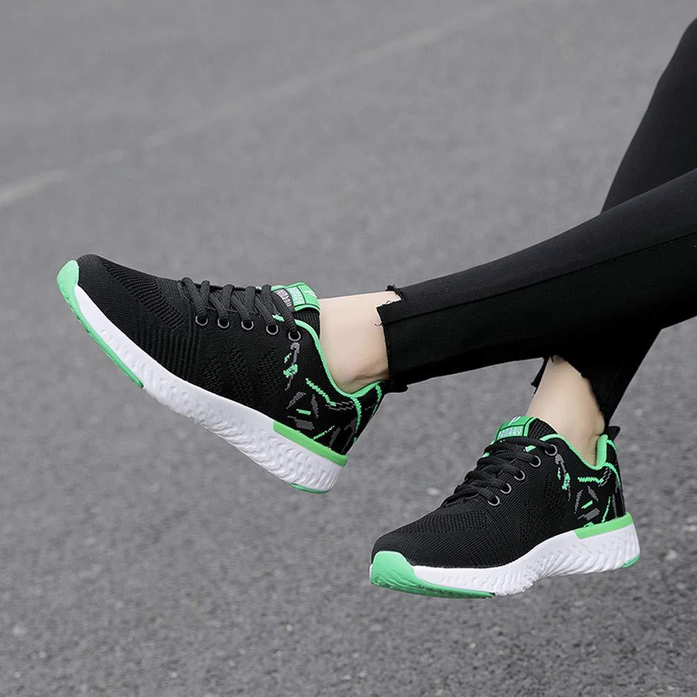 Zapatillas Deportivas de Mujer Zapatos para Correr Gimnasio Sneakers de Exterior Walking Running Casual Shoes Ligero Respirable Transpirable Negro Verde Rosa EU 35-41