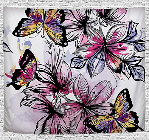 - Etype Decorative Artistic Wall Tapestry Hanging Art Blanket 60 x 51 inch Flowers and Butterflies