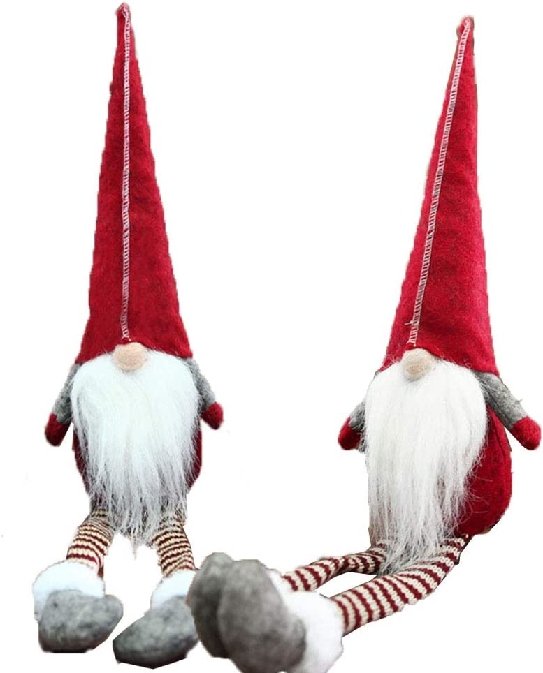 gelvs Cute Gnome with Long bended Red hat Small Sitting Tomte Dwarfs Doll for Holiday Decoration