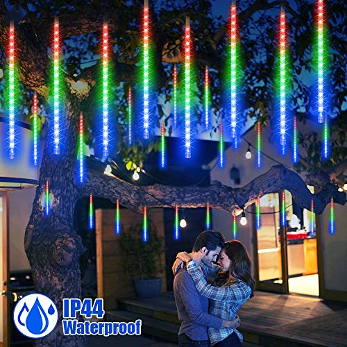 LETOUR LED Meteor Lights, Icicle Lights 8 Tubes, Waterproof LED Rain Lights, Holiday Decorative Lights for Christmas Trees Roofs Wedding Party Halloween