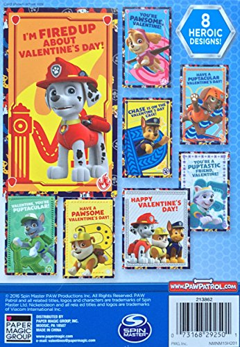 Paw Patrol 32 Valentines Cards 8 Heroic Designs Featuring Chase Marshall Rubble Skye Zuma Rocky Everest - Nickelodeon Spin Master Paper Magic Photo #2