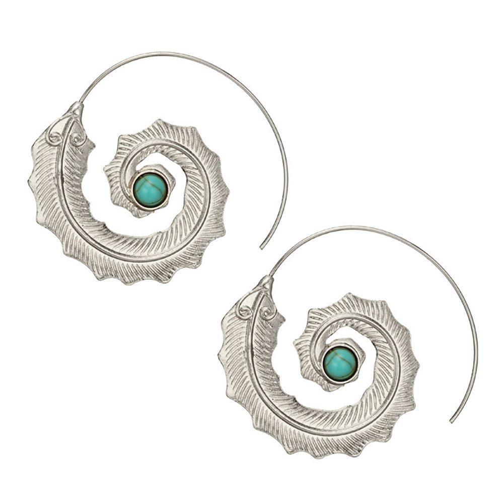 Wintefei Fashion Spiral Leaf Turquoise Ear Hoop Earrings Women Girl Party Jewelry Gift - Silver