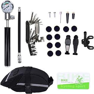 KEBY Kit de réparation de vélo avec jauge (210 psi), 16 Outils de réparation Multifonctions 16 en 1