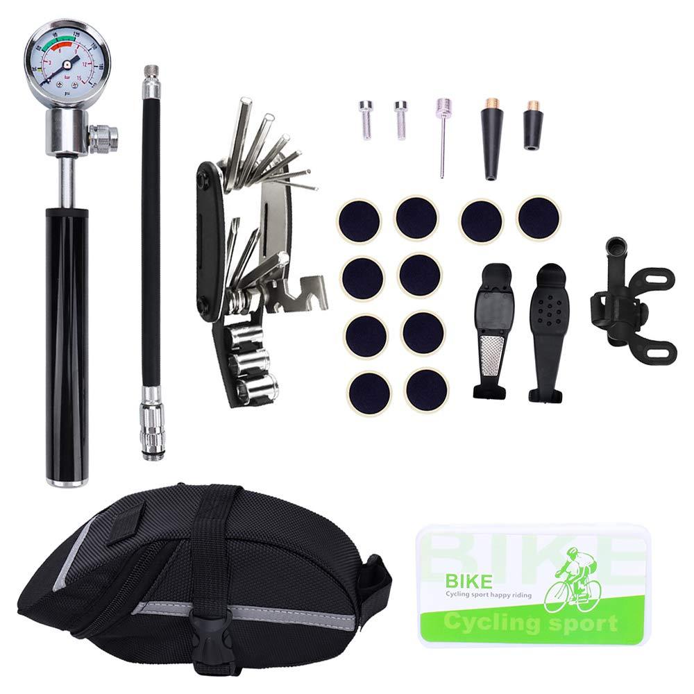 Kit de réparation de crevaison pour vélos pneu de vélo Mini pompe à vélo avec jauge, outils de réparation 16 en 1 sac de selle de vélo cage à bouteille d'eau patchs pré-collés leviers de
