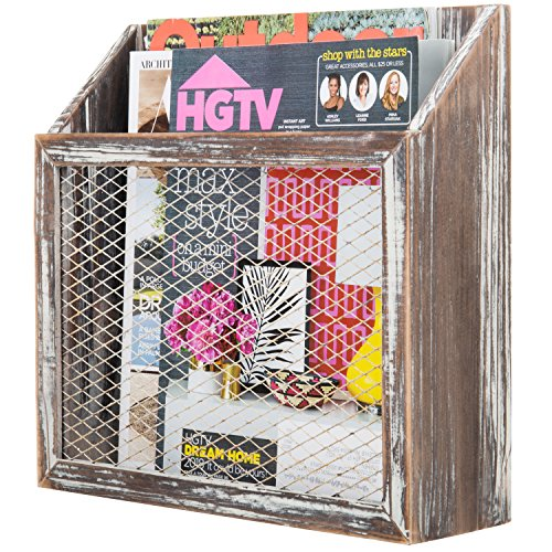 MyGift Rustic Torched Wood & Chicken Wire Wall-Mounted Magazine Holder