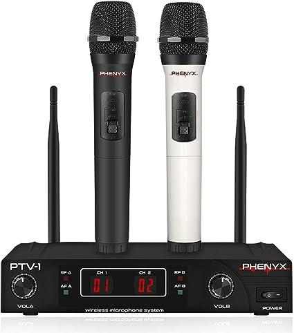 Amazon.com: Sistema de micrófono inalámbrico, Phenyx Pro VHF juego de micrófono inalámbrico con 2 micrófonos de mano, codificación de color, fácil configuración, mejor para uso en el hogar, iglesia, YouTube, karaoke, eventos de fiesta (PTV-1A): Musical Instruments