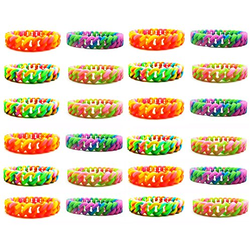 Party Favor Bracelets for Kids Teen Girls Women - 24 Pieces Silicone Chain Bracelets Set - Party Supplies -Great Gifts for Girls - Fashion Jewelry Accessories (24 pcs - Silicone Chain Bracelets ½