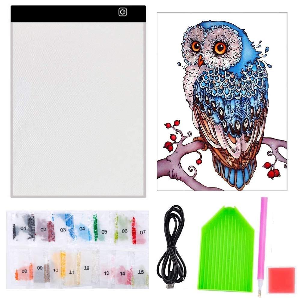 5D ダイヤモンドペインティング フルドリル A4 LEDライトパッド付き ライトボードキット 大人 子供用 Diamond Painting Kits YZHI10101 Diamond Painting Kits  B07P8J6BWC