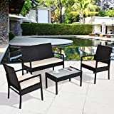 Tangkula 4 PCS Patio Furniture Set Outdoor Backyard Lawn Rattan Chair Sofa Cushioned Seat Furniture Conversation Set