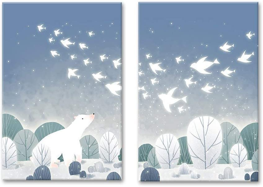 Made With Love, Magnificent Visual, 2 Panel Cartoon Animals Polar Bear on The Ice with Birds x 2 Panels