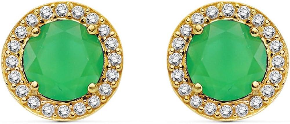 Pendientes de mujer oro amarillo Cándida verde 18 Ktes