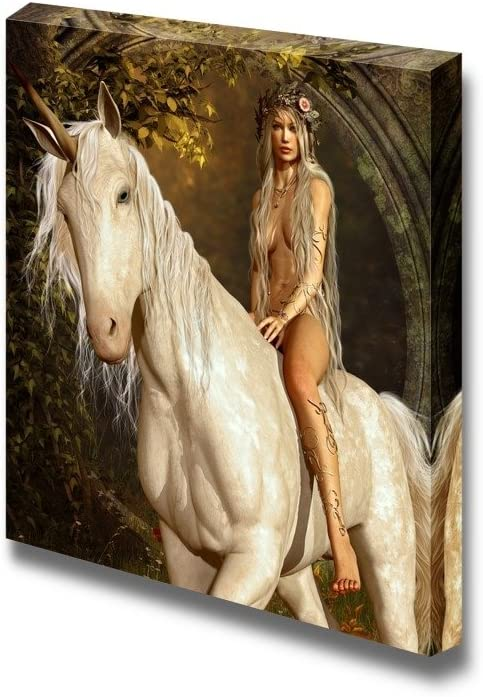 wall26 - Canvas Prints Wall Art - A Maiden Riding a Unicorn in The Fairy Forest | Modern Wall Decor/Home Decoration Stretched Gallery Canvas Wrap Giclee Print. Ready to Hang - 24