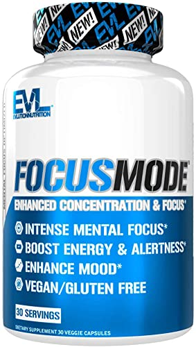 Evlution Nutrition Focus Mode, Herbal Brain Function and Cognitive Support Supplement, Focus, Energy, Clarity, Memory, Mind Enhancer and Mood Booster Nootropic 30 Servings