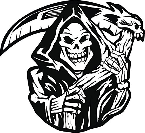 Creepy Black and White Grimm Reaper Skeleton Halloween Cartoon Vinyl Decal Sticker (4