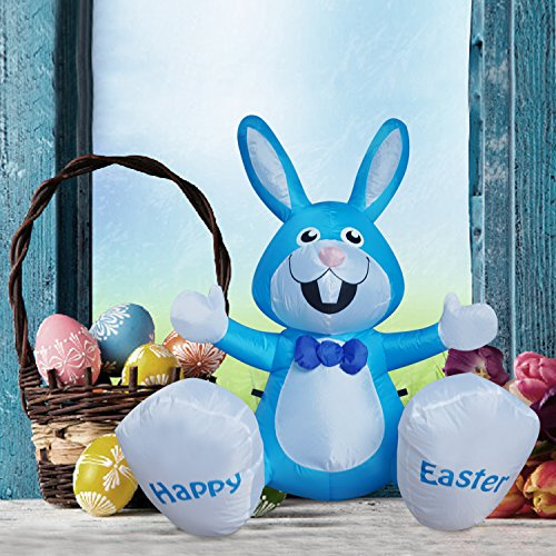 BIGJOYS SEASONBLOW 4 Ft Inflatable Happy Easter Rabbit Airblown LED Lighted Bunny Yard Indoor Outdoor Home Decoration Blue by BIGJOYS