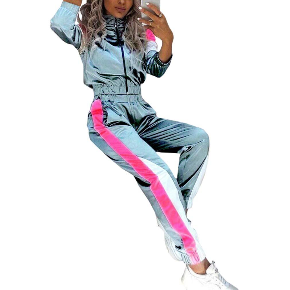 Kunfang Ropa Deportiva Mujer Reflectante de Dos Piezas Traje Deportivo Conjunto Cremallera Conjunto Yoga Pantalones el/áSticos con Cord/ón Ch/ándal
