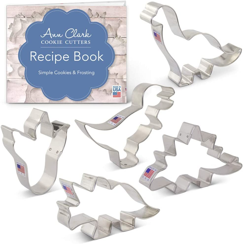 Ann Clark Cookie Cutters 5-Piece Dinosaur Cookie Cutter Set with Recipe Booklet, Triceratops, Stegosaurus, T-Rex, Brontosaurus and Dinosaur Footprint