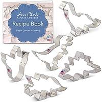 Ann Clark Cookie Cutters Dinosaur Cookie Cutter Set with Recipe Book - 5 Piece - Triceratops, Stegosaurus, T-Rex, Brontosaurus and Dinosaur Footprint- - USA Made Steel