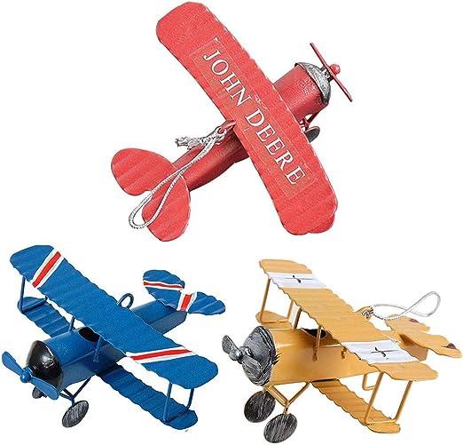Pack de 3 Aviones de Metal Decoracion Vintage Mini Modelo del Aeroplano de Hierro Forjado Colgante Colgante Aviones Biplano Juguetes de Hojalata para Photo Props, árbol de Navidad Ornamento: Amazon.es: Hogar