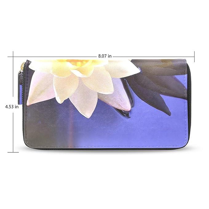 baihuishop flor de loto patrón funda de piel largo billetera ...